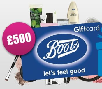 WIN 500 POUND BOOTS GIFT CARD